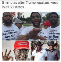 Bruh, Family, and Memes: 5 minutes after Trump legalizes weed  in all 50 states.  TRUMP 8  epublicans  Are Not  Racist  TRUMP  P&ublicans  Rcans  Not  acist  GREATGA Bruh my activity is on some f*ck sh*t again ima be censoring sh*t now i'm a family friendly page n*gga @kevin stop playin fr