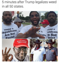 America, Memes, and Weed: 5 minutes after Trump legalizes weed  in all 50 states.  TRUMP &  epublicansi  TRUMP &  Are Not  Racist  P&oublicans  icans re No  st  MAKE AMERICA  GREAT AGADN 5 minutes 😂😂 yamgram takeyourshirtoff noharmdone rp credit @whitepeoplehumor same