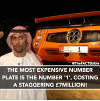 Memes, 🤖, and Abu Dhabi: 5 r. 1  @The FACTSbible  THE MOST EXPENSIVE NUMBER  PLATE IS THE NUMBER 11', COSTING  A STAGGERING £7MILLION! It's owned by an Abu Dhabi businessman called Saeed Abdul Ghaffar Khouri