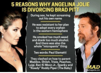 """angelina: 5 REASONS WHY ANGELINA JOLIE  IS DIVORCING BRAD PITT  During sex, he kept screaming  out his own name  He was resistant to her plan  to adopt every orphan  in the eastern hemisphere  He smoked too much weed  and drank too much alcohol.  And there was also the  whole """"micropenis"""" thing  Two words: Paul Giamatti  They clashed on howto parent  Maddox, Shiloh, Trixie, Peaches,  Luigi, Ban Ki Moon Jr., and  """"Rowdy"""" Roddy Piper (The Baby)  madmagazine.com"""