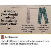 Memes, 🤖, and Good Times: 5 Signs  you should  probably  be making  more effort  You're proud of the  You almost  fact you can watch  exclusively wear  an entire TV season  elastic waist  in one sitting.  pants.  hartbigcanon  Honestly Cosmo, l came out to have a good time  and I'm feeling so attacked right now. I should probably be making more effort