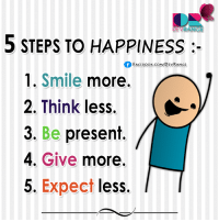 ^_^: 5 STEPS TO HAPPINESS  FACEBOOK CONN DEVRANGE  1. Smile  more.  2. Think less.  3. Be present  4. Give  more.  5. Expect  less. ^_^