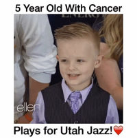 """Ellen makes this little boys dream come true!❤️ - Comment """"jazz"""" letter by letter without getting interrupted! - Follow @wildtapes for more!: 5 Year Old With Cancer  ellen  Plays for Utah Jazz! Ellen makes this little boys dream come true!❤️ - Comment """"jazz"""" letter by letter without getting interrupted! - Follow @wildtapes for more!"""