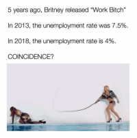 "Bitch, Work, and Date: 5 years ago, Britney released ""Work Bitch'""  In 2013, the unemployment rate was 7.5%  In 2018, the unemployment rate is 4%  COINCIDENCE?  13 Name someone more iconic I date you."