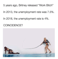 """Bitch, Dank, and Work: 5 years ago, Britney released """"Work Bitch""""  In 2013, the unemployment rate was 7.5%  In 2018, the unemployment rate is 4%  COINCIDENCE?"""