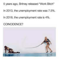 "Bitch, Funny, and Memes: 5 years ago, Britney released ""Work Bitch""  In 2013, the unemployment rate was 7.5%.  In 2018, the unemployment rate is 4%.  COINCIDENCE? SarcasmOnly"