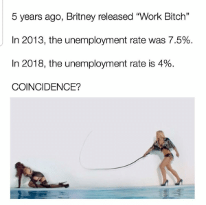 "Bitch, Work, and Coincidence: 5 years ago, Britney released ""Work Bitch""  In 2013, the unemployment rate was 7.5%  In 2018, the unemployment rate is 4%  COINCIDENCE? Britney the economist"