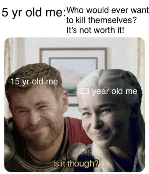 Hello, There by Nate_Lionheart MORE MEMES: 5 yr old me:Who would ever want  to kill themselves?  It's not worth it!  15 yr old me  23 year old me  Is it though? Hello, There by Nate_Lionheart MORE MEMES