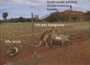 This will be your big break, buddy!: 50,000 people watching  the live stream on  Youtube  His pet kangaroo  Me  My uncle This will be your big break, buddy!