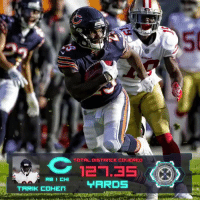 .@TarikCohen ran a total of 127 YARDS on that ridiculous punt return TD! 😱  #NextGenStats #DaBears https://t.co/Kd3UqKARJD: 50  12.35  TARDS .@TarikCohen ran a total of 127 YARDS on that ridiculous punt return TD! 😱  #NextGenStats #DaBears https://t.co/Kd3UqKARJD