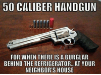 Memes, House, and Neighbors: 50 CALIBER HANDGUN  FOR WHEN THERE IS A BURGLAR  BEHIND THE REFRIGERATOR.. AT YOUR  NEIGHBOR'S HOUSE