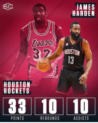James Harden joins Magic Johnson as the only players with a triple-double on the road vs the Spurs in NBA postseason history. (via Elias Sports Bureau): 50  JAMES  HARDEN  TAKERS  HOUSTON  HOUSTON  ROCKETS  33 10 10  ASSISTS  POINTS  REBOUNDS James Harden joins Magic Johnson as the only players with a triple-double on the road vs the Spurs in NBA postseason history. (via Elias Sports Bureau)