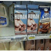Anaconda, Human, and Milk: 50%MORECALCIUM. '  CERTIFIED ORGANID  CERTIFIED ORGANIC  HUMAN HUMAN Sik  Amandmi  CARK CHOGOLATE  100  BREAST MILK BREAST MUK  HALE GALLON.CASEİ  StephanieBraganza