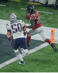 @AtlantaFalcons' Tevin Coleman, right, scores past New England @Patriots' Rob Ninkovich during the second half of SuperBowl 51. (AP Photo-Charlie Riedel): 50  PATRIOTS @AtlantaFalcons' Tevin Coleman, right, scores past New England @Patriots' Rob Ninkovich during the second half of SuperBowl 51. (AP Photo-Charlie Riedel)