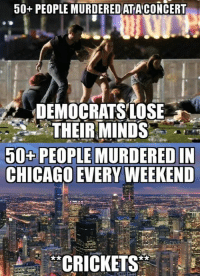 Chicago, Memes, and 🤖: 50+ PEOPLE MURDEREDATACONCERT  DEMOCRATSLOSE  ,.,.to THEIRMINDS,. UN  50+ PEOPLE MURDERED IN  CHICAGO EVERY WEEKEND  CRICKETS (GC)