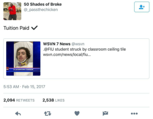 News, Classroom, and Pain: 50 Shades of Broke  @_passthechicken  Tuition Paid  wSVN 7 News @wsvn  .@FIU student struck by classroom ceiling tile  wsvn.com/news/local/fiu...  CLASSROOM DANG  5:53 AM Feb 15, 2017  2,094 RETWEETS  2,538 LIKES Well worth the pain