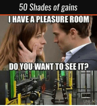 Gym, Link, and New Release: 50 Shades of gains  HAVE A PLEASURE ROOM  DO YOU WANT TO SEE IT  UNILAD  FITNESS 😏💪🏼 . @DOYOUEVEN 👈🏼 NEW RELEASE + 10% OFF! 🎉 use code DYE10 to save ✔️ store link in BIO