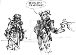 Huh, Omg, and Tumblr: 50 YOU DO IT  FOR FREE,HUH? omg-humor:Witcher vs Dragonborn
