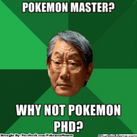 Pokemon master? http://whatdoumeme.com/meme/dx0qgh: POKEMON MASTER?  WHY NOT POKEMON  PHD?  Brought By Faci  ebook.com/Poke  mon Memes Pokemon master? http://whatdoumeme.com/meme/dx0qgh