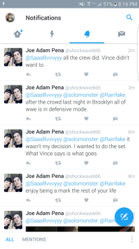 Apparently the stage crew wanted to use the Raw set for tonight but Vince McMahon didn't want: 51 8:16 PM  Notifications  Joe Adam Pena  ashockwave666  2m  @Saaall VVVyyy  all the crew did. Vince didn't  Want to  17,  Joe Adam Pena  oshockwave666  3m  @Saaalllvvvyyy @solomons ter @Rainfake  after the crowd last night in Brooklyn all of  WWe is in defensive mode  Joe Adam Pena  a shock wave666  6m  @Saaalllvvvyyy @solomonster @Rainfake it  wasn't my decision. I wanted to do the set.  What Vince says is what goes.  Joe Adam Pena  a shock wave666  8m  @Saaalllvvvyyy @solomons ter a Rain fake  enjoy being a mark the rest of your life  Joe Adam Pena  Coshockwave666  aaallTVVV  asolomonster @Rain  ALL  MENTIONS Apparently the stage crew wanted to use the Raw set for tonight but Vince McMahon didn't want