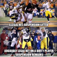 Dirty, Player, and Think: 51  ILLEGAL HIT SUSPENSION LIFTED  @FUNNIESTNFLMEMES  ARGUABLY LEGAL HIT ON A DIRTY PLAYER  SUSPENSIONREMAINS RT if you think this makes no sense. https://t.co/wy6ajBSQxF