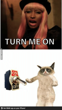 Join Grumpy Cat. fo more smile emoticon Animal Memes.: TURN ME ON  ON  OFF  9 Get 9GAG app on your iPhone! Join Grumpy Cat. fo more smile emoticon Animal Memes.