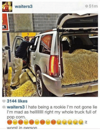 Nba, Pop, and Mad: 51m  waiters  3144 likes  awaiters3 l hate being a rookie l'm not gone lie  I'm mad as helllllllll right my whole truck full of  pop Corn  worst in person Poor Waiters!