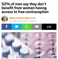 wow I did not realize 52% of men don't have sex with women. trumpcare: 52% of men say they don't  benefit from women having  access to free contraception  Rebecca Reid for Metro.co.uk  Thursday 23 Mar 2017 11:06 am  212 wow I did not realize 52% of men don't have sex with women. trumpcare