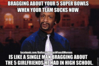 Bragging about 5 Super Bowl Rings.... LIKE US: NFL Memes! Credit - Dallas Cowboys and Their Fans are Morons: BRAGGING ABOUT YOUR 5 SUPER BOWLS  WHEN YOUR TEAM SUCKS NOW  facebook.com/DallascowboysNFansRMorons  IS LIKEASINGLEMANBRAGGING ABOUT  THE 5GIRLFRIENDSHE HAD IN HIGH scHoOL. Bragging about 5 Super Bowl Rings.... LIKE US: NFL Memes! Credit - Dallas Cowboys and Their Fans are Morons