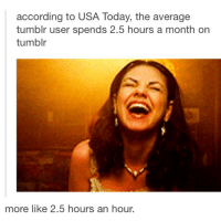 according to USA Today, the average  tumblr user spends 2.5 hours a month on  tumblr  more like 2.5 hours an hour. Me on Instagram