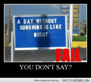 You Don't Say?http://omg-humor.tumblr.com: 53  113  27&  59  374  Regular  Plus  A DAY WITHOUT  SUNS HIN E IS LIKE  NIGHT  YOU DON'T SAY?  TASTE OF AWESOME.COM  Hitler hated this site too You Don't Say?http://omg-humor.tumblr.com