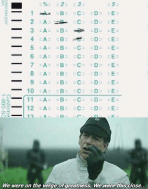The good old ScanTron: 53  23 c3  C ED EE=  3 EA  D E=  D E  4 CA B  5 EA  EC D E  6 A B cC3 D E  7 EA  EC EDE EE  CA B CC D E  B C D E  EAE  10 A B CC D CE  11  EC Da E  12 CA CB CC CD E  We were on the verge of greatness. We were this close...  Custome  1-900-SC The good old ScanTron