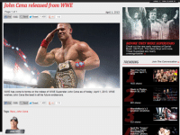 WHAT?!: John Cena released from WWE  Page 1 of 1  April 1. 2013  nuke 9.6k Send Tweet 1,405  R -1 119  WWE has come to terms on the releae of WWE Superstar John Cena as of today, April 1, 2013. WWE  wishes John Cena the best in all his future endeavors,  e 9.6k  Send Tweet  1.405 R-1 119  Tags: Raw, John Cena  BEFORE THEY WERE SUPERSTARS  Check out the rare early matches of Daniel  Bryan, CM Punk, The Hardy Boyz and more.  These Superstars are  unrecognizable  TRENDING  Join The Conversation  Raw Five-Point  April 1.  2013  1633 shares  Week in Photos.  March 30, 2013  665 shares  WrestleMania's 5  greatest rematches  532 shares  WrestleMania  matches: photos WHAT?!