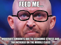 Conservative Ryback: FEED ME  MODERATE AMOUNTS DUE TOECONOMIC STRESS AND  TAXINCREASE ON THE MIDDLE CLASS  quick meme com Conservative Ryback
