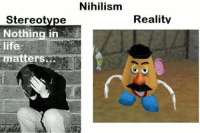 Nihilism: Stereotype  Nothing in  matter  Nihilism  Reality