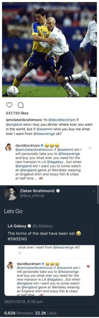 England, Soccer, and Yo: 537,720 likes  iamzlatanibrahimovic Yo @davidbeckham if  @england wins I buy you dinner where ever you want  in the world, but if @swemnt wins you buy me what  ever I want from @ikeasverige ok?  davidbeckhame  @iamzlatanibrahimovic if @swemnt win  will personally take you to @ikeasverige  and buy you what ever you need for the  new mansion in LA @lagalaxy, but when  @england win I want you to come watch  an @england game at Wembley wearing  an England shirt and enjoy fish & chips  at half time   Zlatan lbrahimović +  @lbra_official  Lets Go  LA Galaxy @LAGalaxy  The terms of the deal have been set  #SWEENG  what ever I want from @ikeasverige ok?  1h  davidbeckh  @iamzlatanibrahimovic if @swemnt win I  will personally take you to @ikeasverige  and buy you what ever you need for the  new mansion in LA @lagalaxy, but when  @england win I want you to come watch  an @england game at Wembley wearing  an England shirt and enjoy fish & chips  at half time  06/07/2018, 9:39 pm  6,639 Retweets 22.2K Likes The deal has been agreed 👀😂 https://t.co/K1KNLZQgsC