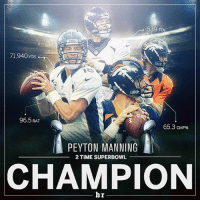 Nfl, Peyton Manning, and Sports: 539 TDs  71,940  96.5 RAT  65.3 CMP%  A PEYTON MANNING  2 TIME SUPERBOWL  CHAMPION  br 39-year-old Peyton Manning is the oldest QB in NFL history to win a Super Bowl. 💯