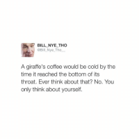 OMG follow my new favorite account @billhigh😂😂😂 I'm dying @billhigh @billhigh 😂: E BILL NYE THO  @Bill Nye Tho  A giraffe's coffee would be cold by the  time it reached the bottom of its  throat. Ever think about that? No. You  only think about yourself. OMG follow my new favorite account @billhigh😂😂😂 I'm dying @billhigh @billhigh 😂