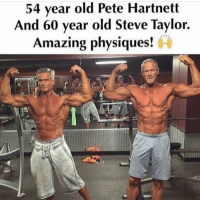💪💪 @gymmotivation: 54 year old Pete Hartnett  And 60 year old Steve Taylor.  AN PA  Amazing physiques! 💪💪 @gymmotivation