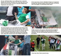 "Dank, 🤖, and Color: 54-year old Rooie Marck was suffering from a terminal  disease and doctors only gave him a few days left to live.  One of his last wishes: to see his favorite football team,  Feyenoord, one more time.  The club arranged so he could watch the first training of the  season from the dugout inside De Kuip stadium. Marck was  accompanied by his son and a few friends, while the majority  of Feyenoord supporters knew his story. So, on the 12th  minute, all players stopped their exercises and turned their  eyes, along with everyone else in the stadium, towards him.  the same time a banner with Marck's figure on it appeared  amongst fans lighting up green flares and smoke, his favorite  color, and singing You Will Never Walk Alone"".  Visibly touched by this gesture, Marck found the strength to  stand up without any support and walk towards his fellow  supporters. He was enthusiastically applauded by everyone in  the stadium.  Three days later, Marck passed away. Incredible support..."