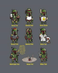 All types of Boba -OA: Boba Fat  Broba Fett  Blah-blah Fett  Bubba Fett  Barbra Fett  Boba Fed  Boba Boba  Boba Vet  Bilbo Fett All types of Boba -OA