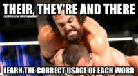 Wrestling, World Wrestling Entertainment, and Word: THEIR, THEY RE AND THERE  LEARNITHECORRECTIUSAGE OF EACH WORD Damien Sandow - Grammar Nazi