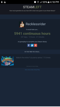 """Click, Steam, and Tumblr: : 55% 4:18 PM  STEAMLEFT  How much gametime do you have left to beat every game in your Steam library?  Recklessrider  It would take you...  5941 continuous hours  247 days, 13 hours, 41 minutes  of gameplay to complete your Steam library  IN THIS TIME YOU COULD.  Watch the entire Futurama series 115 times  TUR  Click here for more of these  Home 