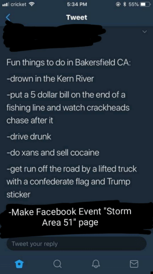 """Confederate Flag, Drunk, and Facebook: @ * 55%  cricket  5:34 PM  Tweet  Fun things to do in Bakersfield CA:  -drown in the Kern River  -put a 5 dollar bill on the end ofa  fishing line and watch crackheads  chase after it  -drive drunk  -do xans and sell cocaine  -get run off the road by a lifted truck  with a confederate flag and Trump  sticker  -Make Facebook Event """"Storm  Area 51"""" page  Tweet your reply It's true, though."""