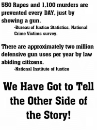 Anaconda, Crime, and Memes: 550 Rapes and 1,100 murders are  prevented every DAY, just by  showing a gun.  -Bureau of Justice Statistics, National  Crime Victims survey  There are approximately two million  defensive gun uses per year by law  abiding citizens.  -National Institute of Justice  We Have Got to Tell  the Other Side of  the Story!
