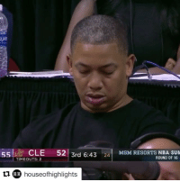Nba, Sports, and Sun: 55d  CLE 52 3rd 6:43 24  MGM RESORTS NBA SUN  ROUND OF 16  TIMEOUTS: 2  houseothighlights Was Ty Lue asleep? 😂 (via @houseofhighlights)