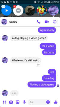 56% 15:32 PM  13  Camry  Wym shorty  A dog playing a video game?  ItS a video  Its crazy  Whatever it's still weird  Bro  its a dog  Playing a videogame  Aa