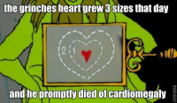 the grinch: the grinches heart grew 3 Sizes that day  2 1  and he promptly died of  cardiomegaly