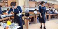"""""""She wearing Jordan's just incase one of her students wanna mess around and get dunked on in the name of chemistry """": """"She wearing Jordan's just incase one of her students wanna mess around and get dunked on in the name of chemistry """""""