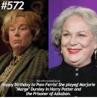 """QOTD: When's your birthday? 🌙 = Happy Birthday to Pam Ferris! She played Marjorie """"Marge"""" Dursley in Harry Potter and the Prisoner of Azkaban. HappyBirthdayPamFerris:  #572  MYPOTTERFACTS  Happy Birthday to Pam Ferris! She played Marjorie  """"Marge"""" Dursley in Harry Potter and  the Prisoner of Azkaban. QOTD: When's your birthday? 🌙 = Happy Birthday to Pam Ferris! She played Marjorie """"Marge"""" Dursley in Harry Potter and the Prisoner of Azkaban. HappyBirthdayPamFerris"""